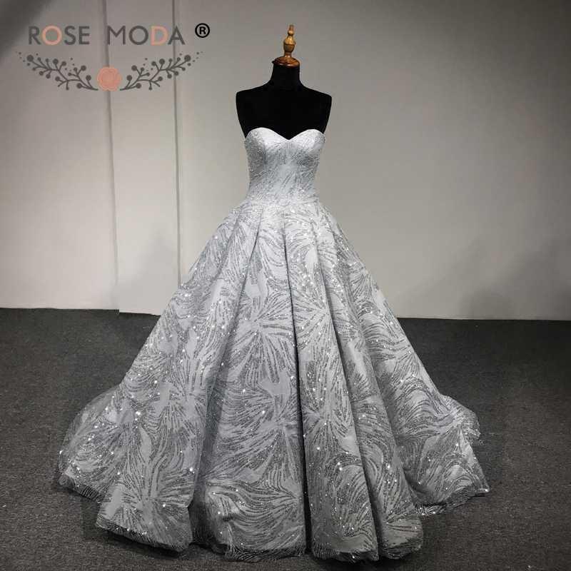 Rose Moda Luxury Gold Silver Glitter Wedding Dress 2018 Strapless Bling  Wedding Ball Gown Arabic Wedding 632b858071d0