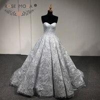 Rose Moda Luxury Gold Silver Glitter Wedding Dress 2018 Strapless Bling Wedding Ball Gown Arabic Wedding Gowns Photography Dress