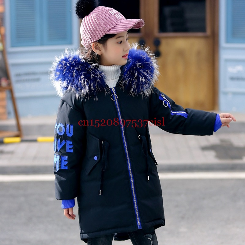 Russia Winter Girls Duck Down Coats Girl Thick Long Thicken Coat Kids Real Raccoon Fur Collar Overcoats Children Winter Parkas fashion children winter coat long down jacket for girl long parkas kids hooded color raccoon fur collar coat zipper outerwear