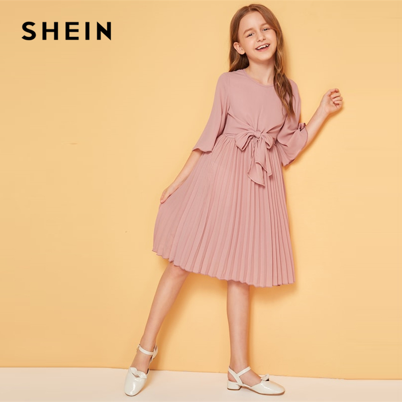 SHEIN Kiddie Solid Tie Front Pleated Girls Cute Dress Kids 2019 Summer Flounce Sleeve A Line Children Knee Length Dresses