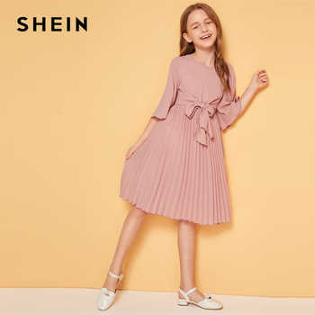 SHEIN Kiddie Solid Tie Front Pleated Girls Cute Dress Kids 2019 Summer Flounce Sleeve A Line Children Knee Length Dresses - DISCOUNT ITEM  40% OFF All Category