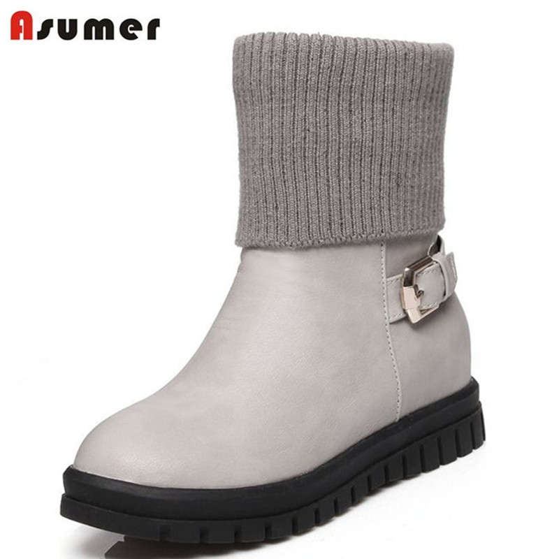 ФОТО Big size 2017 winter new fashion ankle boots buckle high quality unique style shoes for women round toe med heels platform