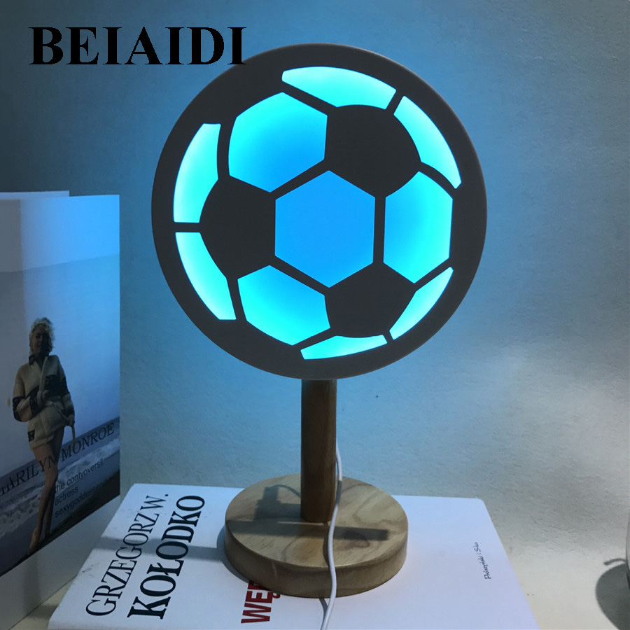 BEIAIDI 3D Football LED Night Light Atmosphere Bedside Table Desk Lamps Baby Sleeping Li ...