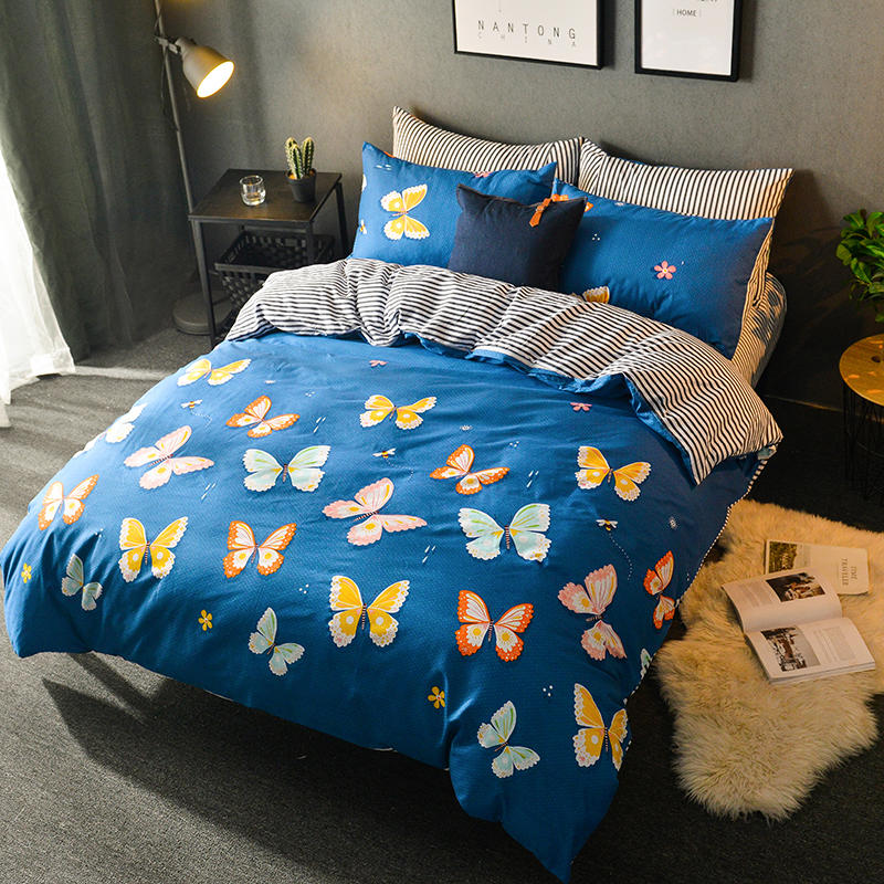 US $95.0 |Free shipping hot sell Butterfly Print 4pcs bedding set bed sheet  home textile bedding bed linen queen king full twin bedclothes-in Bedding  ...