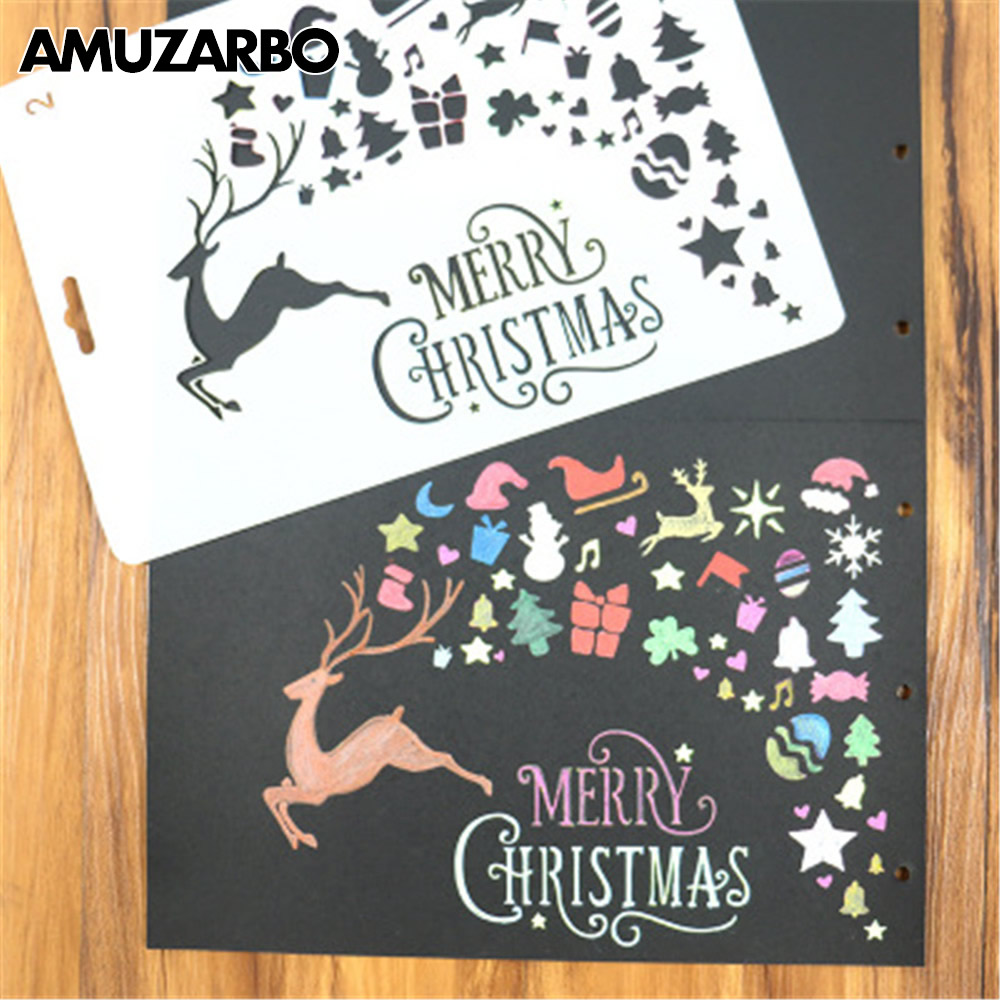 1Pcs DIY Merry Christmas Theme Painting Template Journal Stencil Set Xmas Deer Scrapbooking DIY Cards Office School Supply