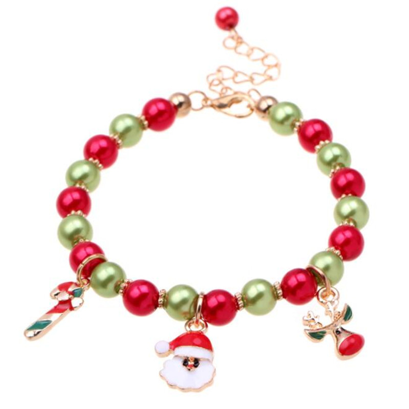 Onnea New Colorful Bracelet Kids Bracelet Christmas party Santa Claus Charm Bead Stretch Red Green Bracelets Party Gift ...