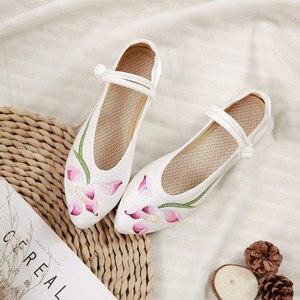 Image 4 - Veowalk bailarinas bordadas de franela para mujer, zapatos planos con punta bordada, de algodón, cómodos, con correa en el tobillo