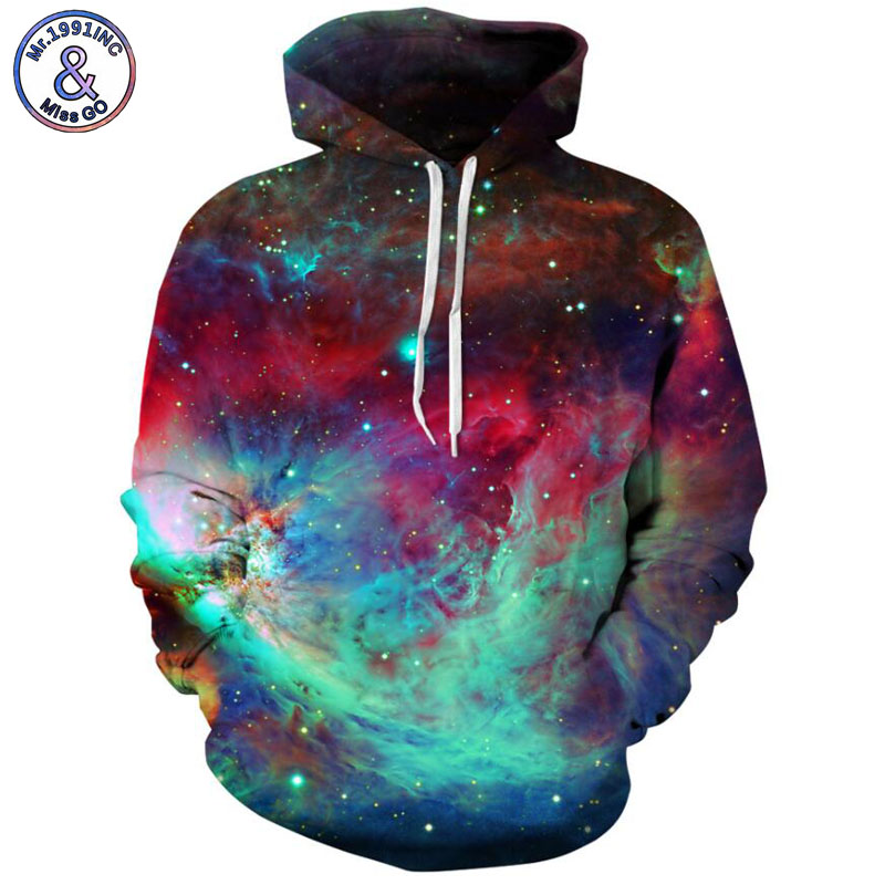 Mr.1991INC Newest Colour starry sky printing Casual Sweatshirts Men/women hoodie sweatshirt long sleeve Hooded Pullovers M212