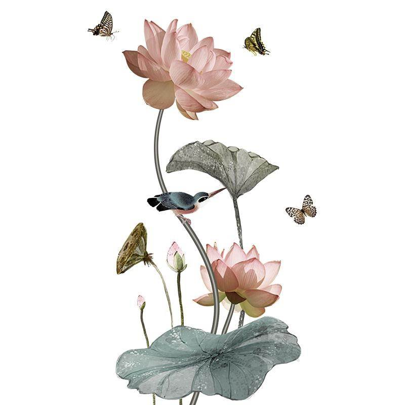 Lotus, Poster, Butterfly, Vintage, Chinese, Living
