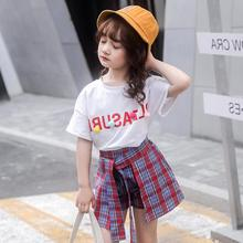 Girls Short Sets Summer Children Fashion Suit Clothes 2 pieces Cotton T shirt+Striped Pant Skirt Size 4-14 Years Girls clothing