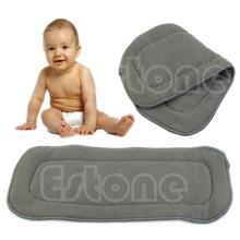 Free Shipping 5pcs/lot Bamboo Fiber Charcoal Washable Cloth Nappies Diaper Insert Reusable 5 Layers
