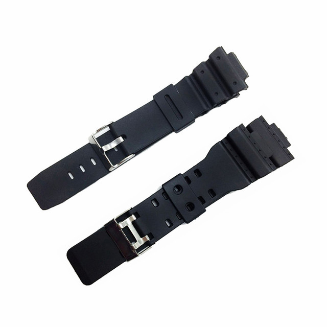 Watchband 16mm Black Silicone Rubber Replacement Watch Straps Band for Watch ga-