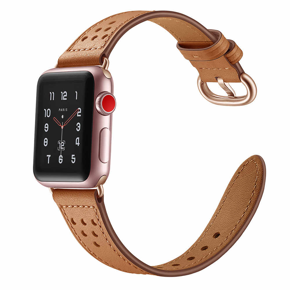 新スタイルのファッション薄型ウエスト本革ブレスレット apple の時計バンド 42/38/44/40 ミリメートル交換時計ストラップシリーズ 4 3 2 1