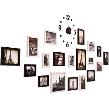 Hanging Frames for Wall Decor Paper Wall Photo Frame Set DIY Wedding Family Picture Frames Set Wall Hanging 19 Piece Clock Style