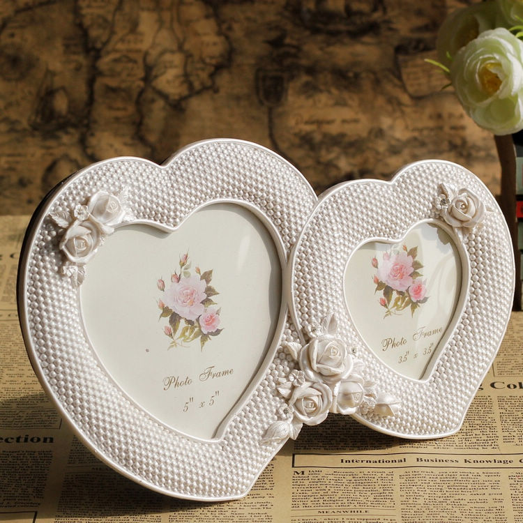 Combination Rose Heart Resin Picture Frame Decoration Love White ...