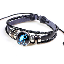 12 constellation leather woven glass buckle bracelet punk style personality unisex adjustable size cuir homme