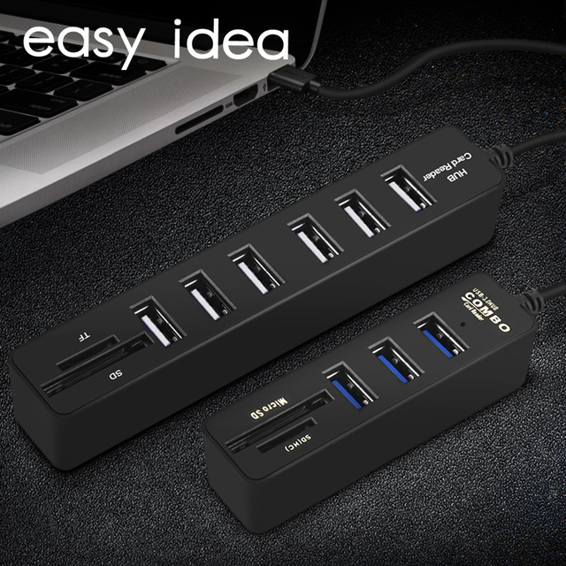 EASYIDEA USB HUB 3.0 Combo Nhiều Bộ Chia USB 3.0 Micro USB 3 HUB 3/6 Cổng TF Thẻ SD đầu đọc Hab cho MÁY TÍNH Phụ Kiện Máy Tính