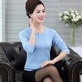 Среднего возраста кашемировый свитер женщины мода твердые О-Образным Вырезом длинный вязаный топ блузка плюс размер пуловер перемычка
