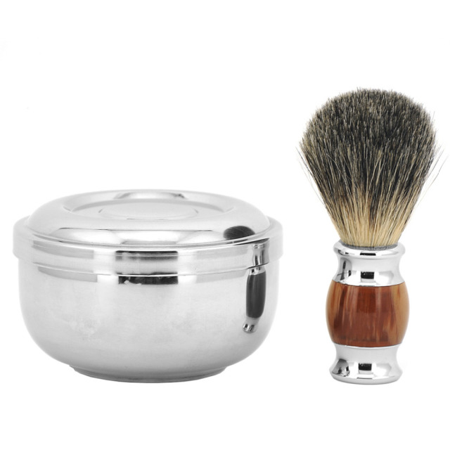 ZY Barber 100% Pure Badger Hair Wet Shaving Beard Brush + Shaving Soap Mug Bowl Cup Men Shave Razor Kit