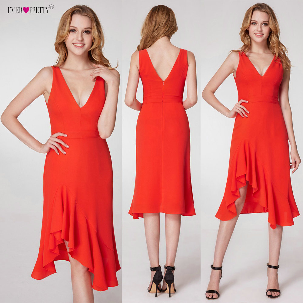 Ever Pretty Elegant   Cocktail     Dresses   EP05977 Modern V-neck Asymmetrical Sleeveless Cocteleria Elegant Vestidos Cortos De Coktel