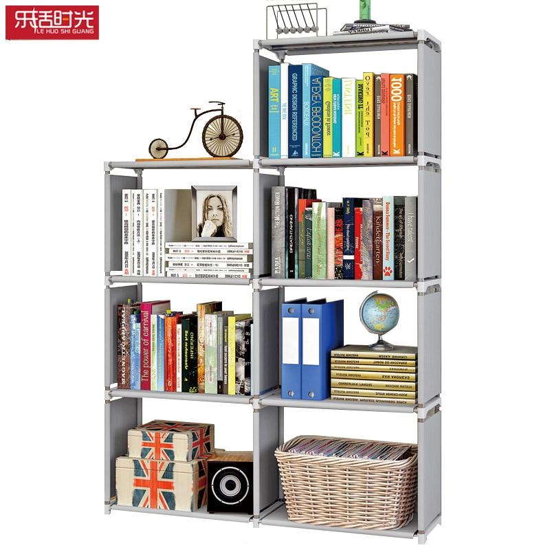 цена 7 Grids Folding Simple Standing Assembled Book Shelf Living Room Multi-function Non-woven Modern Bookshelf Decoration for Home