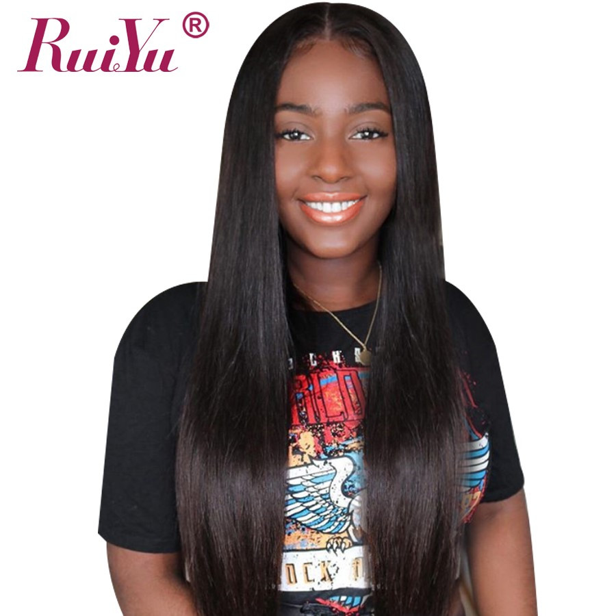 RUIYU Glueless Lace Front Human Hair Wigs For Black Women Peruvian Straight Swiss Lace Wigs With Baby Hair Non Remy Hair Wig