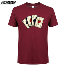 KOLVONANIG Men Rock T Shirt Summer 2019 Poker Playing Cards Four A Anime 3d Printed Mens Clothing Brand Oversized T-Shirts Tops