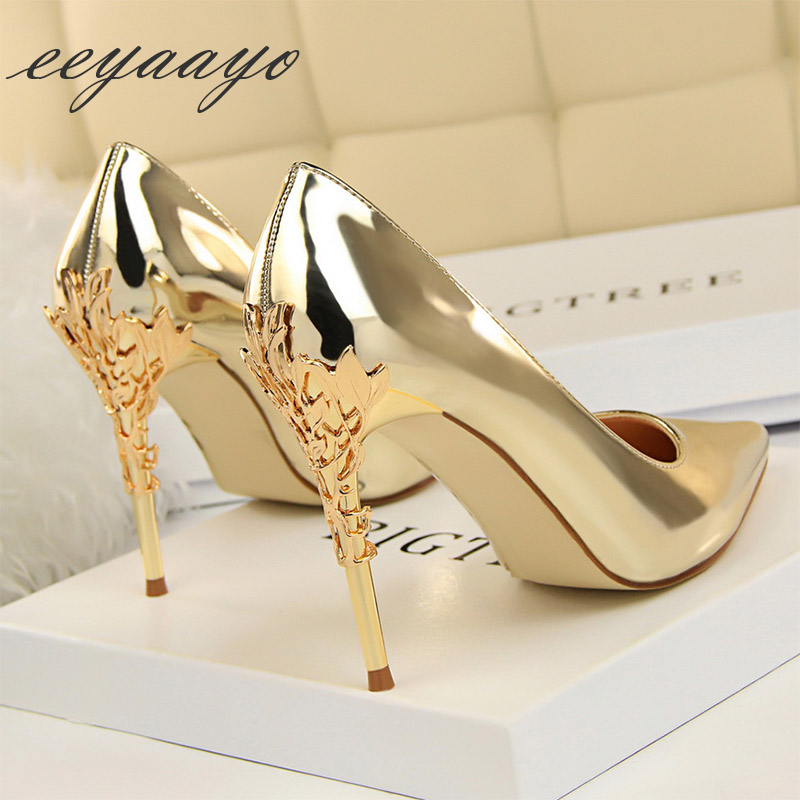 2019 New Spring/Autumn Women Pumps High Thin Heels Pointed Toe Metal Decoration Sexy Evening Party Women Shoes Gold High Heel