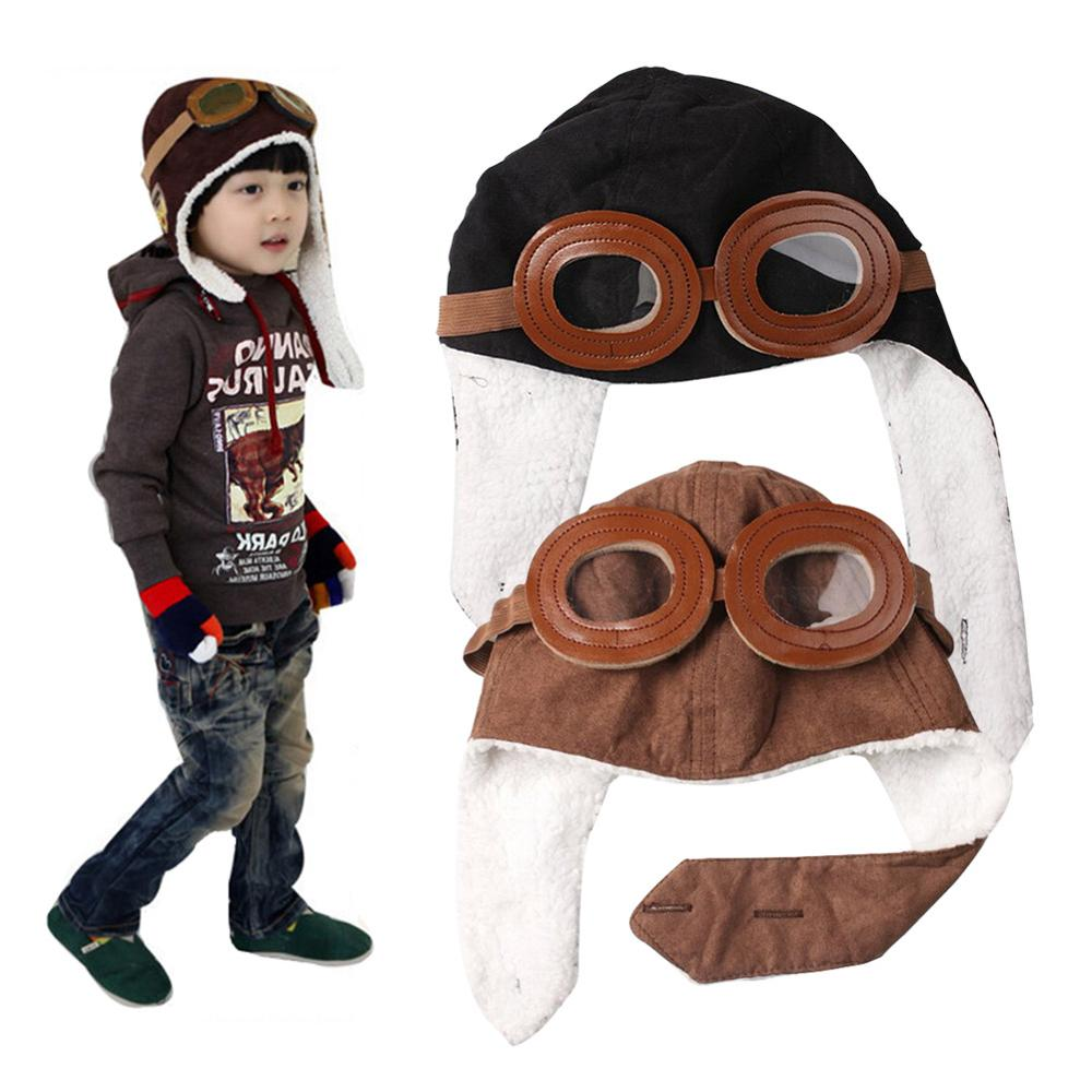 Hot Sale Baby Toddler Kids Pilot Aviator Cap Fleece Warm Hats Earflap Beanie for Boy Girl Fantasias Infantil Well D ...