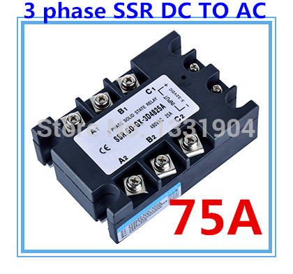 цена на DC to AC SSR-3P-75 DA 75A SSR relay input DC 3-32V output AC480V Three phase solid state relay