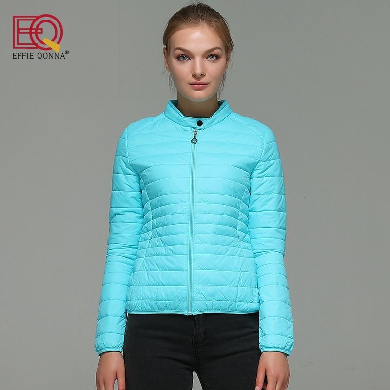 EFFIE QONNA 2017 New Arrival Sky Blue Winter Fall Long Sleeve Women Short Parkas Ladies Black Spring outwear Female Tops Coats blue sky чаша северный олень