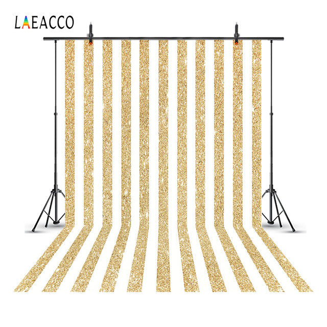 Laeacco Golden Glittering Stripes Kids Portrait Baby Photography Backgrounds Customized Photographic Backdrops For Photo Studio