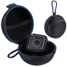 PULUZ Mini Portable Round EVA Bag Storage Case Box For GoPro Hero 5 4 Session Accessories charger cable stocker With Hook