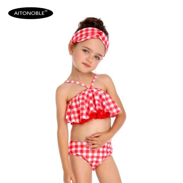ee17ac356e 2019 Children Kids Girls Swimwear Beachwear Teen Baby Biquini Bikini 2  Pieces Pink Chess Print Top and Bottom