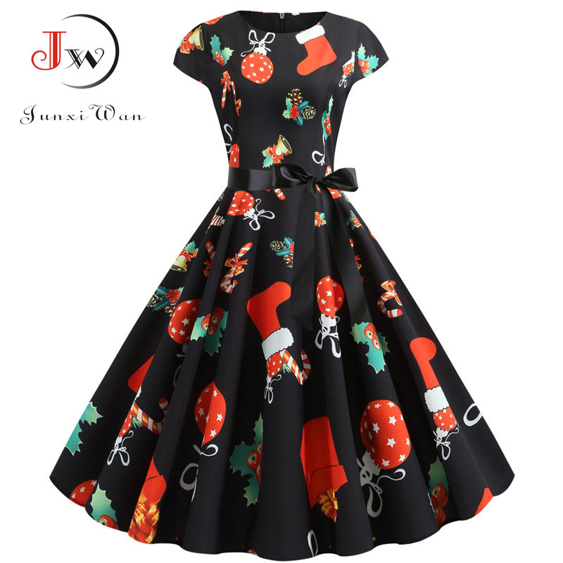 Christmas Dress 2020 Summer Short Sleeve Women Vintage Evening Party Dress Swing Casual A-Line Elegant Print Vestidos Plus Size 1