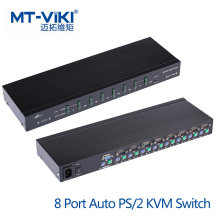 MT-VIKI 8 Port Auto PS/2 KVM Switch Hot Key OSD Menu 1 PS2 Keyboard Mouse Control 8 PCs Rackmount Daisy Chain Support MT-2108RD