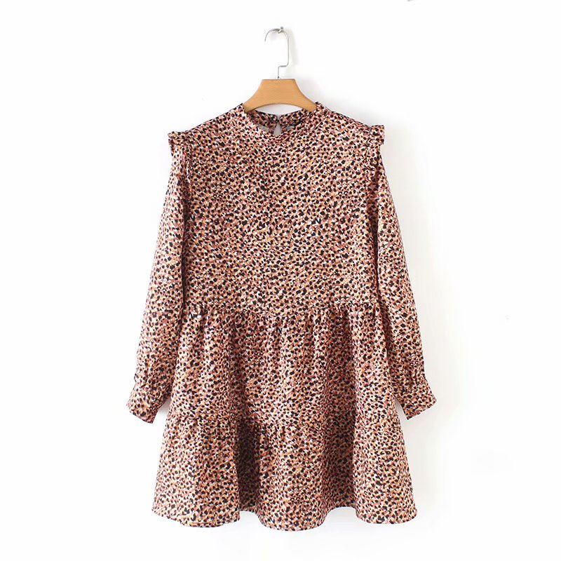 2019 Women Vintage Pleated Ruffles Leopard Print Mini Dress Female O Neck Long Sleeve Casual Vestidos Chic Sweet Dresses DS1946