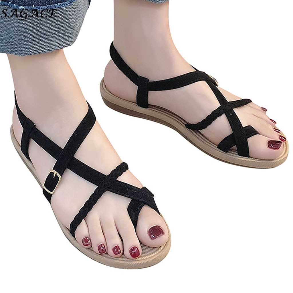 SAGACE Sandals Women Fashion Gladiator Flat Sandals Summer Shoes woman Casual Rome Style Cross Tied Beach Shoes Chaussures Femme