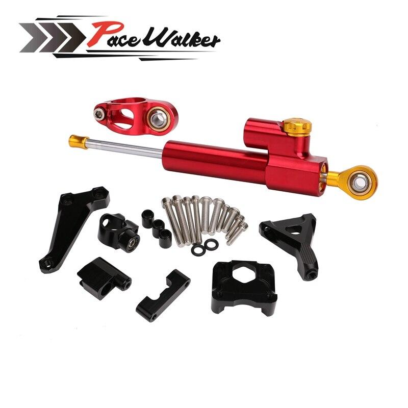 Motorcycle CNC Aluminium Steering Damper + Adjustable Stabilize Bracket Mounting kit For Kawasaki Z250 2015-2016 cnc aluminium motorcycle adjustable
