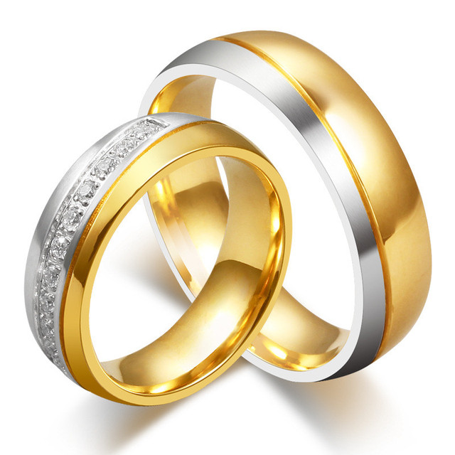 Free Shipping Gold Color Pure Titanium Couple Rings Korean Men