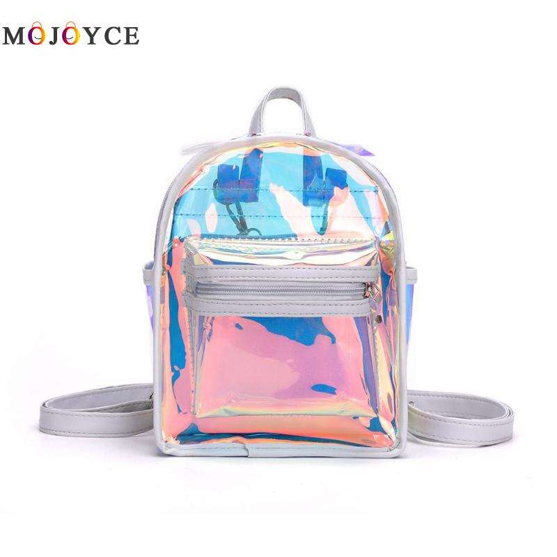 Women/'s Clear PVC See Through Transparent Backpack Girls Bag Travel Backpacks