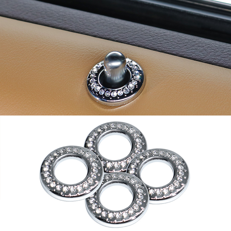 QHCP 4Pcs Car Door Bolt Lock Pin Door Switch Button Sticker Cover ABS Rhinestone Crystal Decorator For Lexus ES200 260 300H 2018