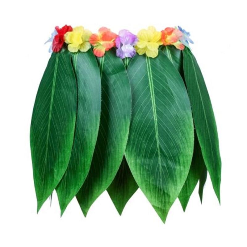 Popular moda mujer damas Mini Sexy fiesta verde Hawaiano hierba hula fiesta Luau falda baile en la playa disfraz hojas flores
