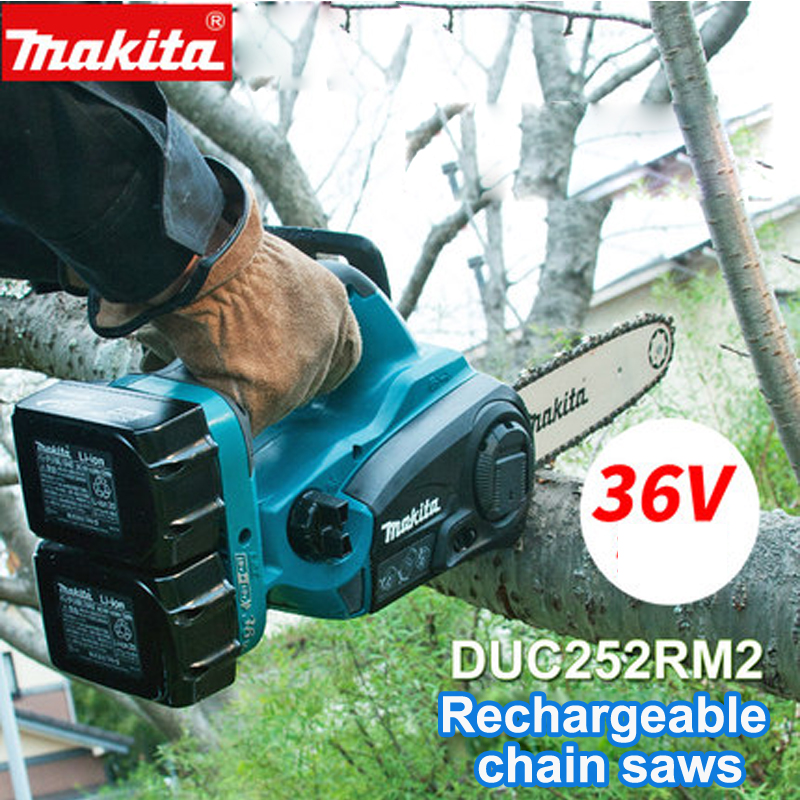 Japan Original Makita Rechargeable electric chain saws DUC252RM2 Lithium battery saws Charged wood chain saws DUC121RFE 36V japan makita dbo180z rechargeable sanding machine plate type vibration sandpaper machine adjustable speed for wood polished