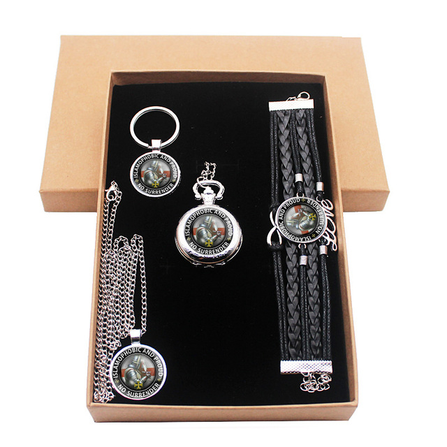 Vintage No Surrender Knight Templar Jewelry Gift Set Have Pocket Watch And Penda