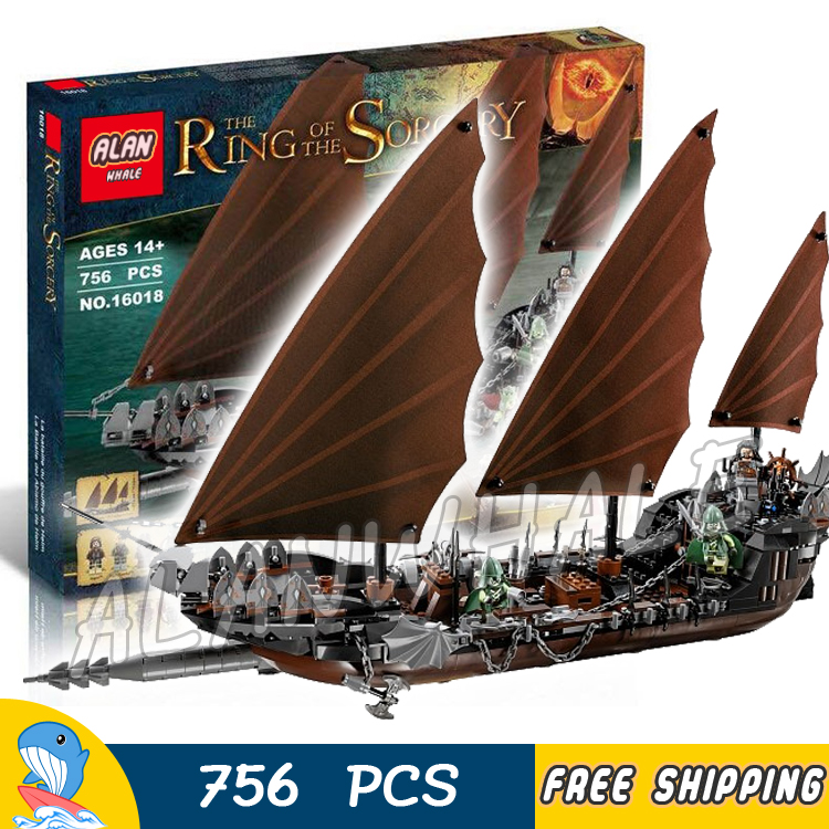 756pcs Lord of the Rings Pirate Ship Ambush 16018 DIY Model Building Kit Blocks Gifts Children Toys bricks Compatible With lego lepin 22001 pirate ship imperial warships model building block briks toys gift 1717pcs compatible legoed 10210