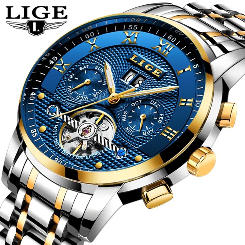 LIGE Top Brand Mens Watches Business Fashion Automatic Mechanical Watch Men Full Steel Sport Waterproof Watch