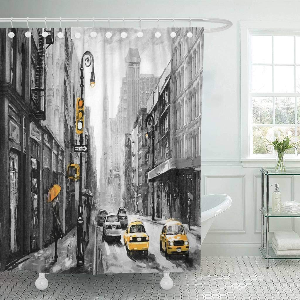 shower curtain with hooks oil painting on canvas street view of new york woman under umbrella yellow taxi modern bathroom