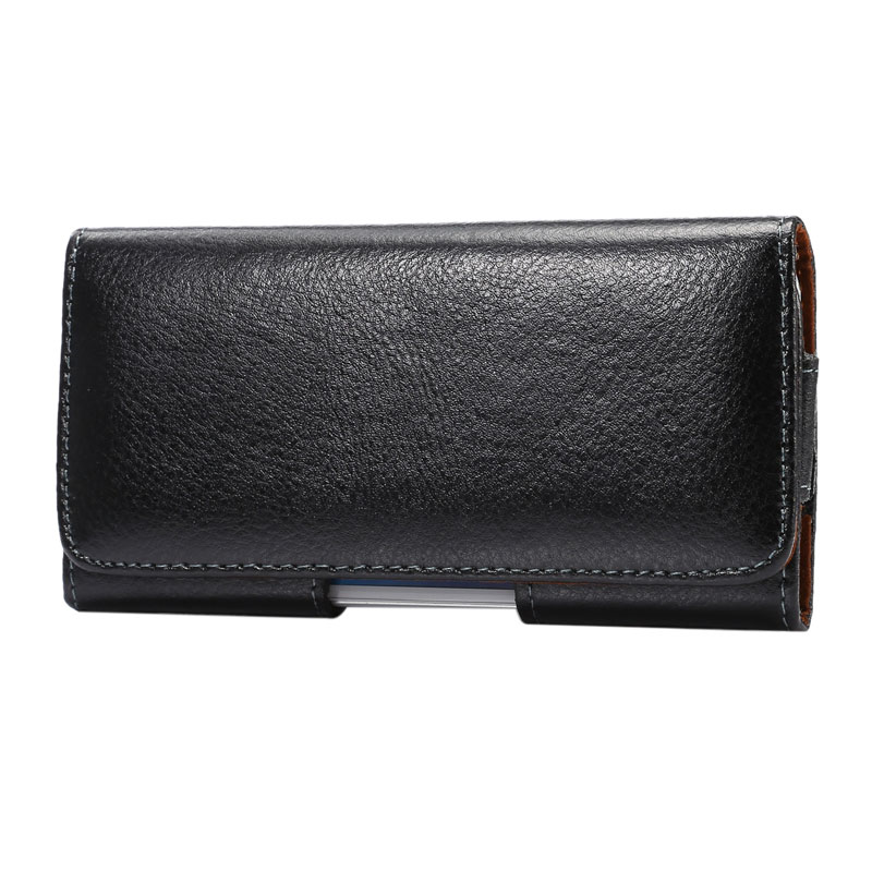 YIANG Genuine Leather Fanny Packs Men's Leather Bags Fashion Belt Clip Mobile Phone Bags Pouch 6.3 Inch Black Color