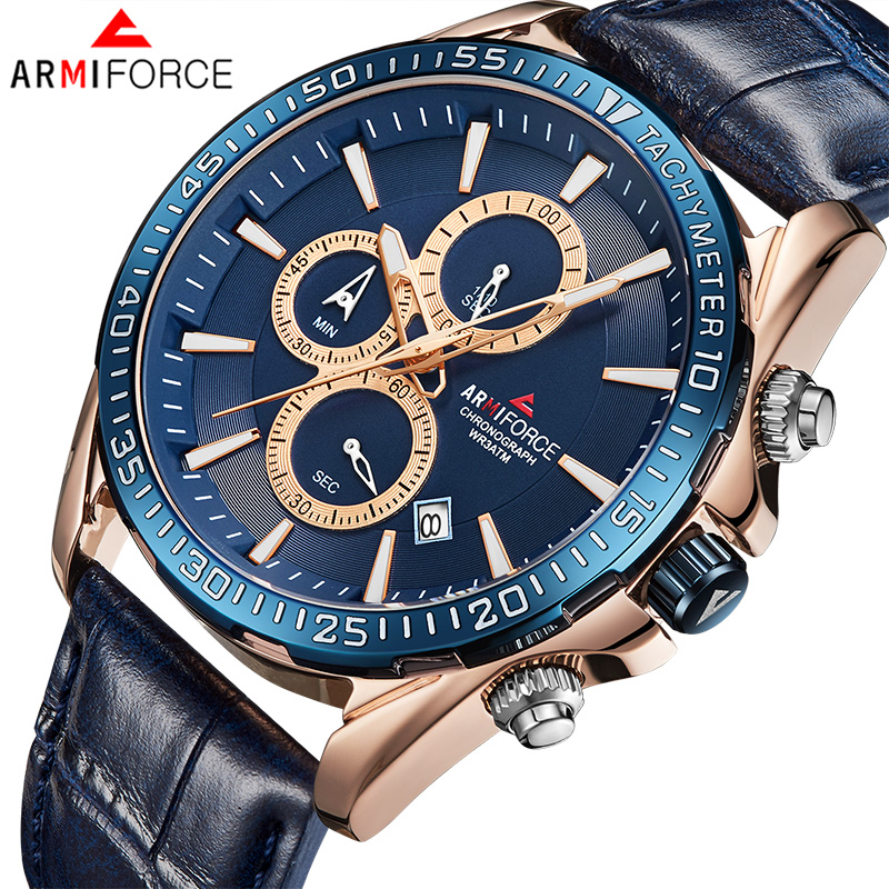 Mens Watchs New Brand ARMIFORCE Men's Army Military Sport Watches Male Leather Waterproof Date Quartz Clock Relogio Masculino